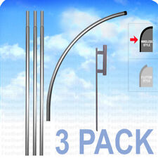 3 Pack Deluxe Windless Pole Amp Ground Spike For Swooper Feather Flag Kit