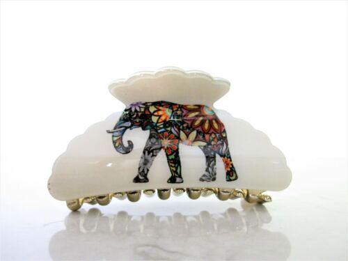 Creme white elephant acrylic hair claw clip