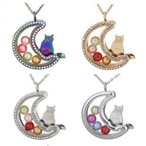 Moon-Cat-Glass-Beads-Cage-Memory-Floating-Locket-20-034-Necklace-Steel-Chain
