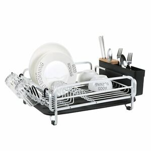 Aluminum-Dish-Drainer-Drying-Rack-Large-Storage-Cutlery-Holder-Removable-Tray