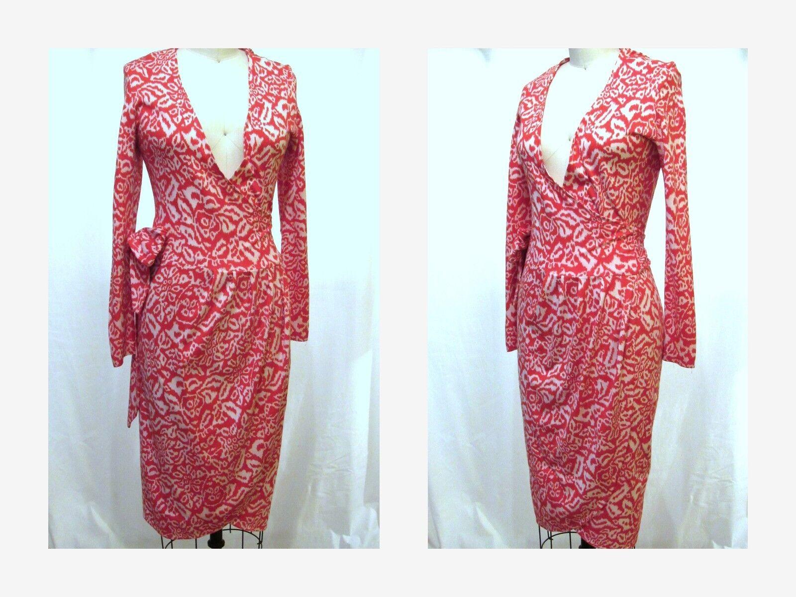 DIANE VON FURSTENBERG Vintage Wrap Dress rot and Weiß Geometric Print Sz.XS  S