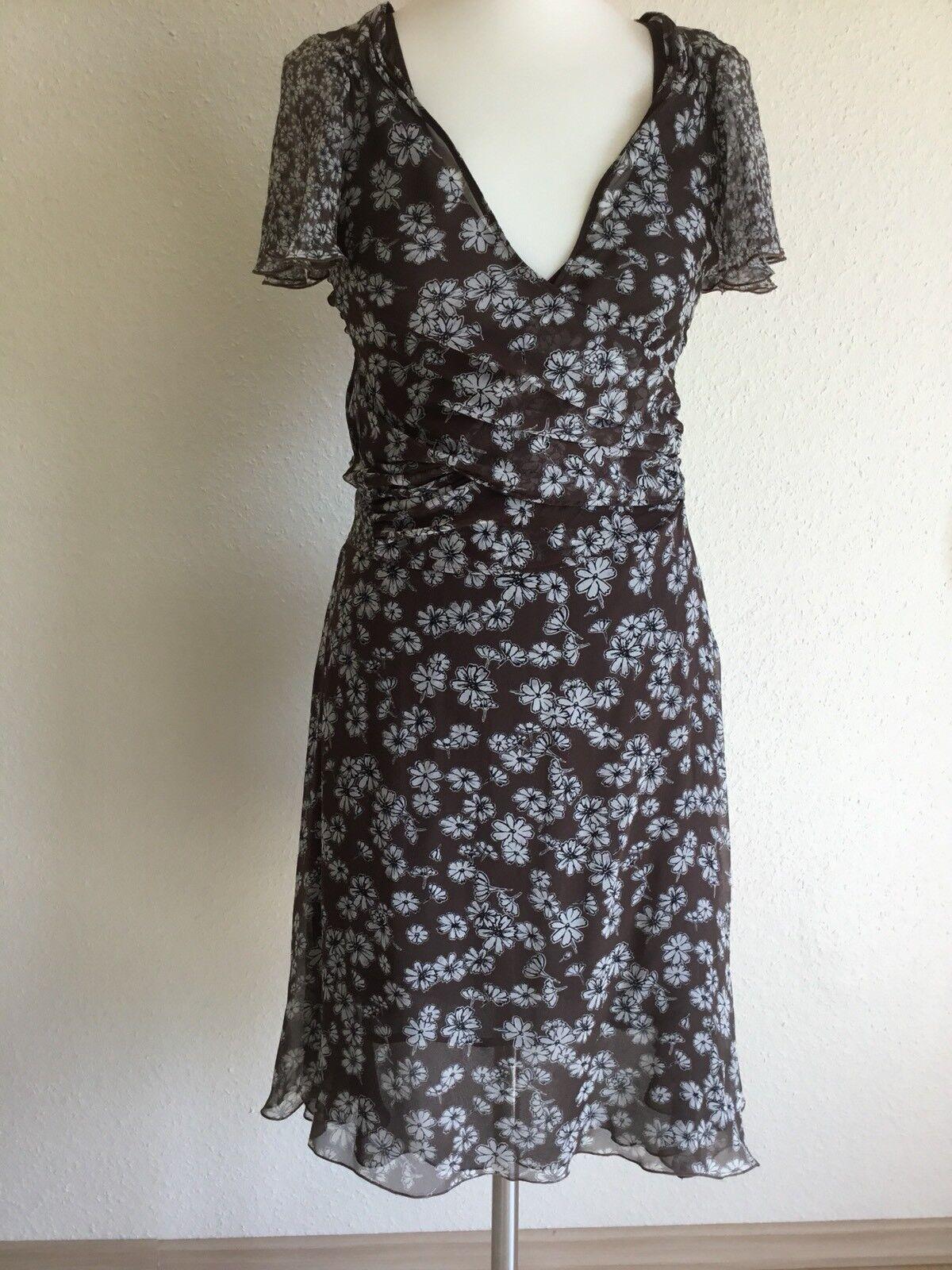MARC CAIN Kleid aus Seide, Größe 38 N3,braun geblümt, NEU