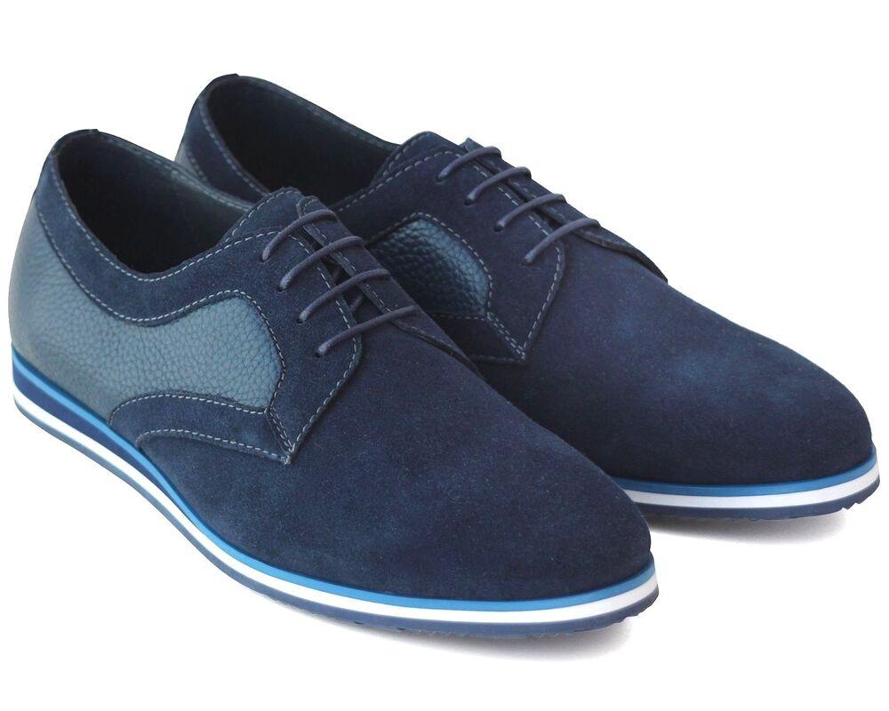 * 591 Uk 7 Neuf Bleu Marine En Cuir VÉritable & Daim Lacets Décontractées Chaussures Sportif Ue 41