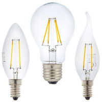 2W 4W 8W LED Filament Leuchtmittel E14 E27 Glühbirne Kerze Kugel Windstoss Birne