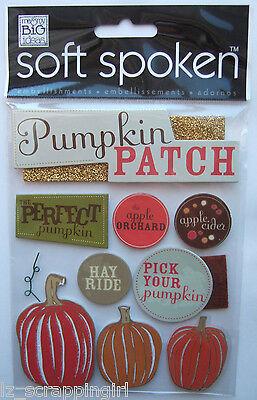 ~PUMPKIN PATCH~ Soft Spoken Dimensional Embellishments Stickers; Fall Pumpkins
