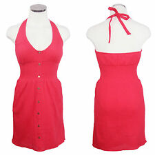 G BY GUESS Coral Pink Tie Halter Button Front Smocked Empire Sun Dress Sz S