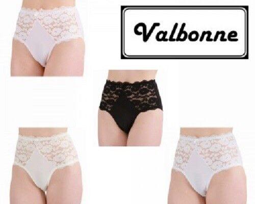 Women/'s Floral taille haute brésilien Empiècement En Dentelle Slips Noir Blanc Ivoire
