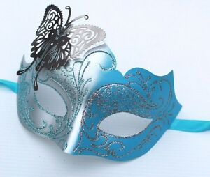 Turquoise Blue And Silver  Venetian Masquerade Party Prom Carnival Eye Mask