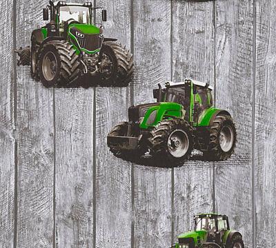 Bordüre Kinder Vliestapete Traktor Trecker Holz grau grün Jungen Muster Uni