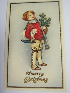 Shackman Antique Reproduction Christmas Postcard Boy With Toy Lamb