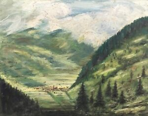 Oil-Painting-German-Landscape-View-IN-A-Valley-With-Kirchdorf-Anonymous