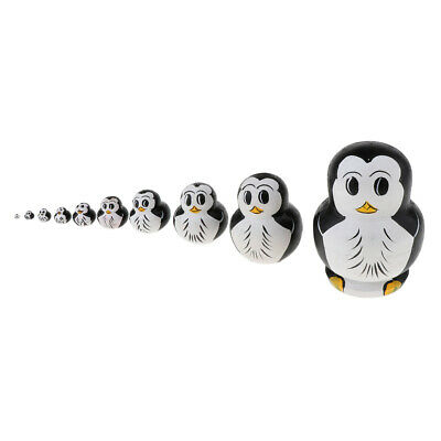 Penguins 5-Piece Black Russian Nesting Doll GreatRussianGifts