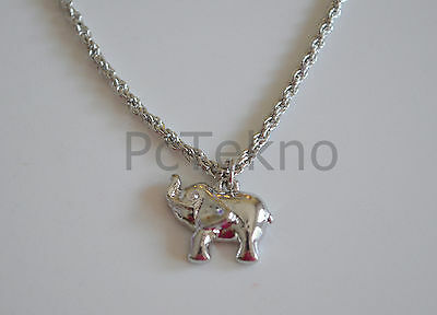 NWT Jennifer Lopez Silver Tone Lucky Elephant Pendant Necklace in Pouch SIGNED