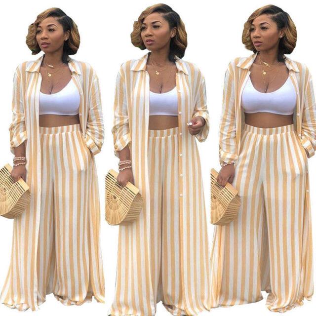 Women Fashion 2 Piece Stripes Wide Leg Pants Set Long Shirt Cardigan Blouse G6F4