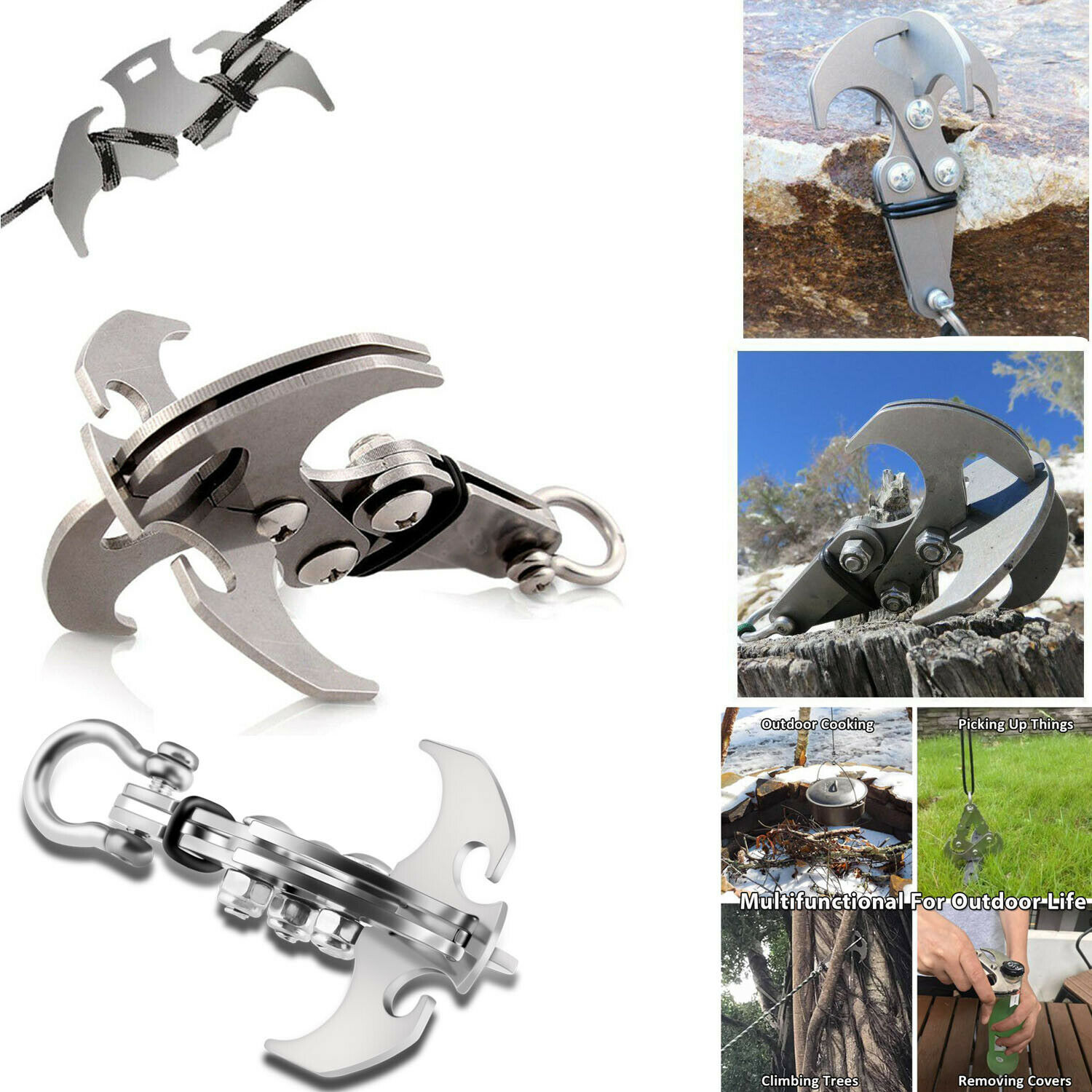 S//M//L//XL Outdoor 3 Claws Grappling Hook Climbing Survival Carabiner Tool Steel
