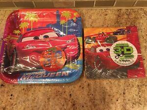 Disney Cars 2 Movie 3d 8 Plates 16 Napkins Birthday Party Supplies