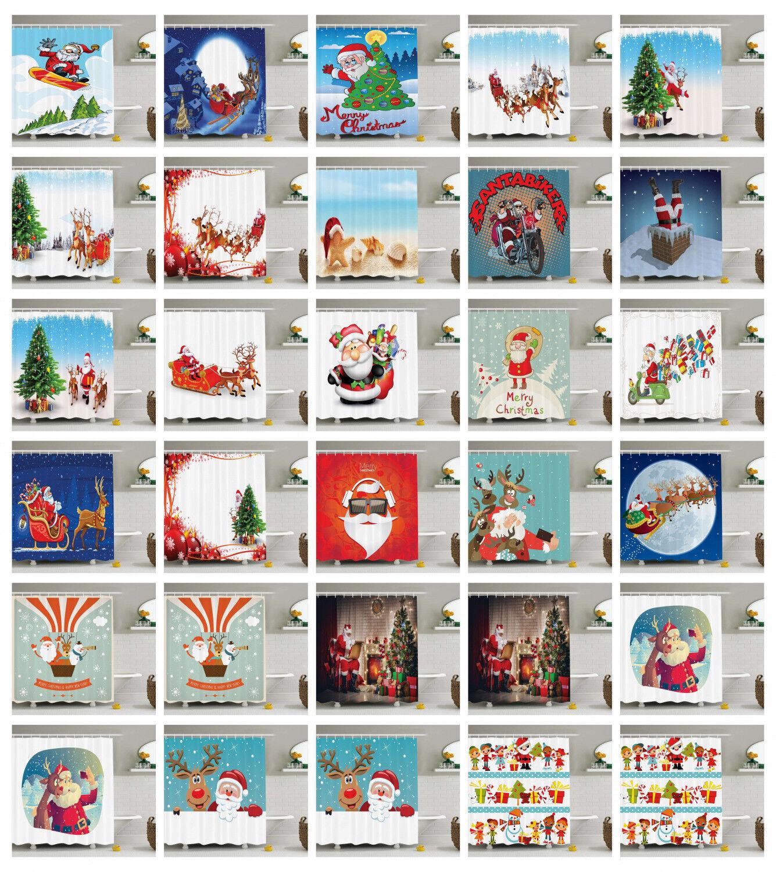 Santa Shower Curtain Fabric Bathroom Decor Set with Hooks 4 Größes Available
