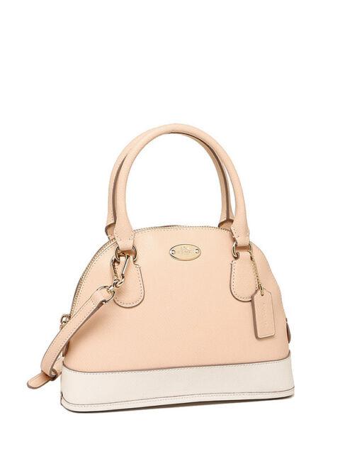 Nwt Coach Crossgrain Mini Cora Domed Satchel Handbag In Apricot Chalk F 34517