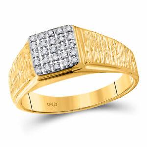10k Gelbgold Herren Rund Diamant Quadratisch Traube Gebürstet Ring 1/8 Cttw Moderate Kosten
