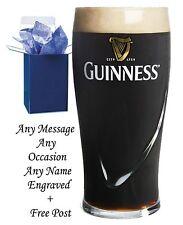 PERSONALISED ENGRAVED PINT BEER GLASS DAD, GRANDDAD, GUINNESS GIFT