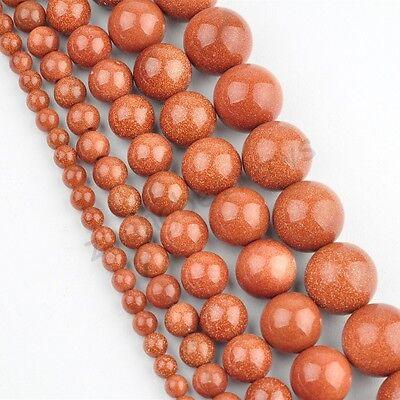 Natural Goldstone Gemstone Round Loose Spacer Beads 16'' Strand 4 6 8 10 12 mm