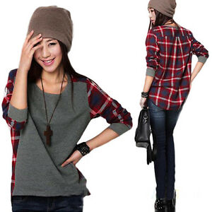 Womens-Fashion-Loose-Long-Sleeve-Plaid-Grid-Style-T-shirt-Blouse-Top-5-Sizes