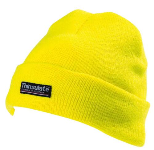 Men/'s Yellow Beanie Thinsulate 3M Hi Vis Thermal Hat High Viz Woolly CAP402