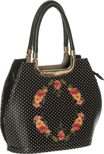 Dancing Days RING OF FIRE Polka Dots Vintage FLORAL Handbag TASCHE Rockabilly