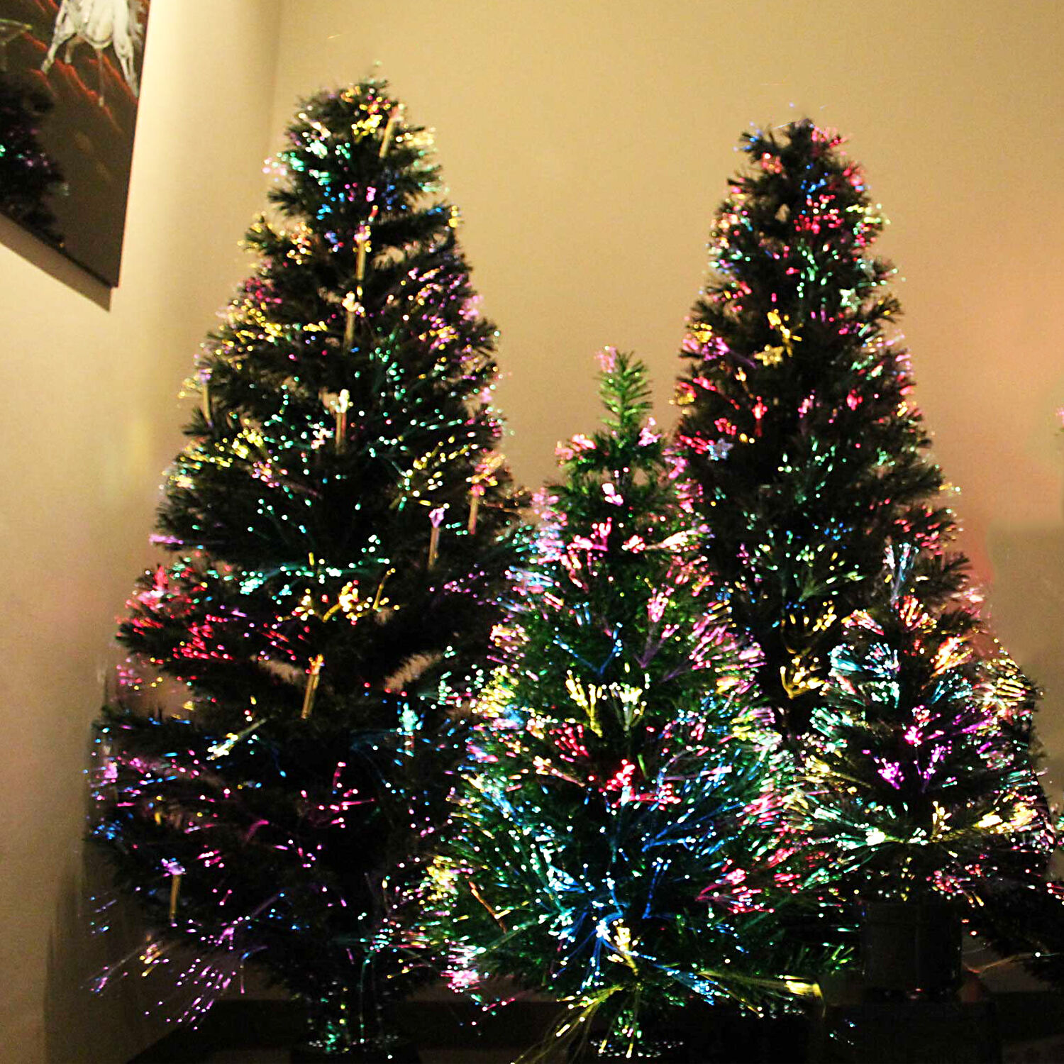 Luxurious Christmas Trees: LUXURY GREEN DELUXE FIBER OPTIC CHRISTMAS TREE MULTICOLOR