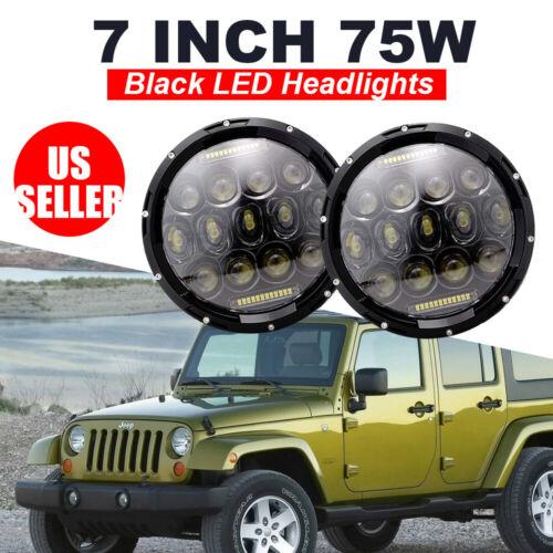 Pair 7Inch 75W Black LED Headlight for Dodge Dakota Jeep Wrangler JK 97-17