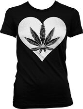 Cartoon Heart Hands Rasta Flag Weed Pot MaryJane Juniors T-shirt