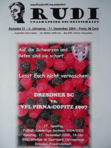 Pirna Copitz Fußball Programm 2004/05 Dresdner SC 1898 Sammeln & Seltenes