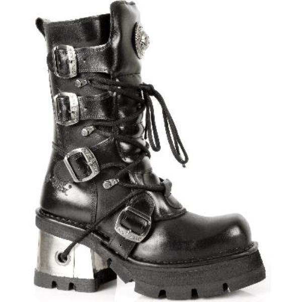 NEWROCK 373 S3 Ladies Women Women Women Black Leather Heel Gothic Punk New Rock Biker Boots f4a966