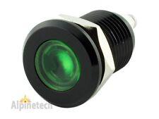 "PLB12G ATI 12mm 1/2"" Green 12V LED Metal Indicator Pilot Dash Light Black Casing"
