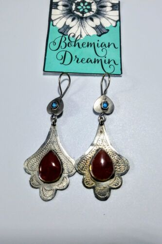 Details about  /Red Agate Lily Earrings