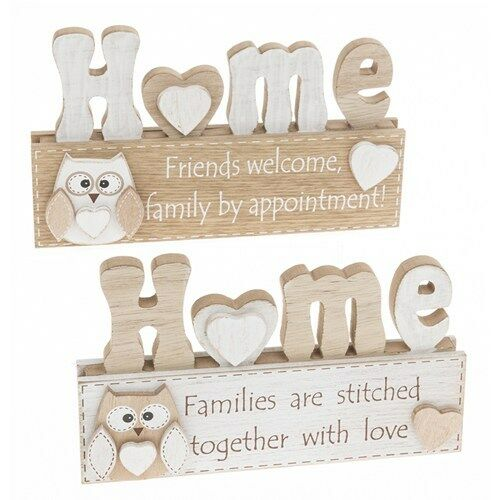 owl home wooden plaque ornament display homeware gift present shabby chic retro