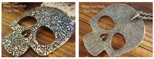 Skull Pendant//Necklace Gold//Silver Large Flat Sugar Skull Charm Chain Sm Enamel