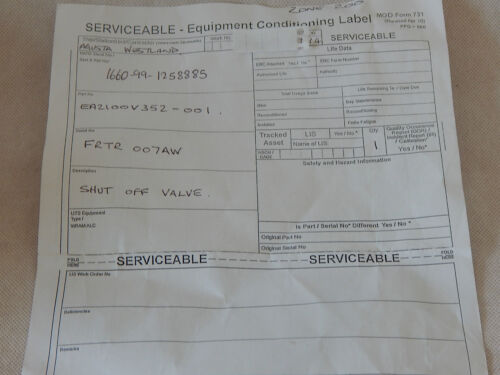 Merlin Helicopter Shut Off Valve Type 1R10A FR-HITEMP Actuator