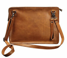 Men's Leather Messenger Briefcase Wristlet Wallet Shoulder Envelope Clutch Bag