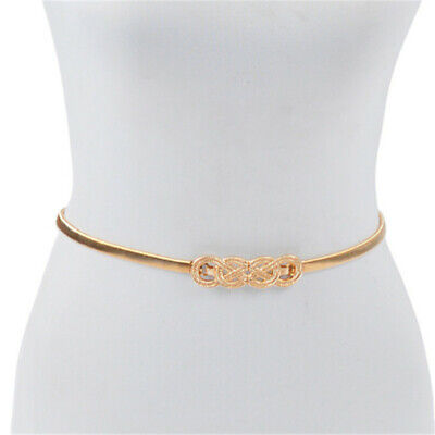 Women/'s Gold Metal Elastic Waistband Fashion Belt Wave Buckle Hip Waist Plus S