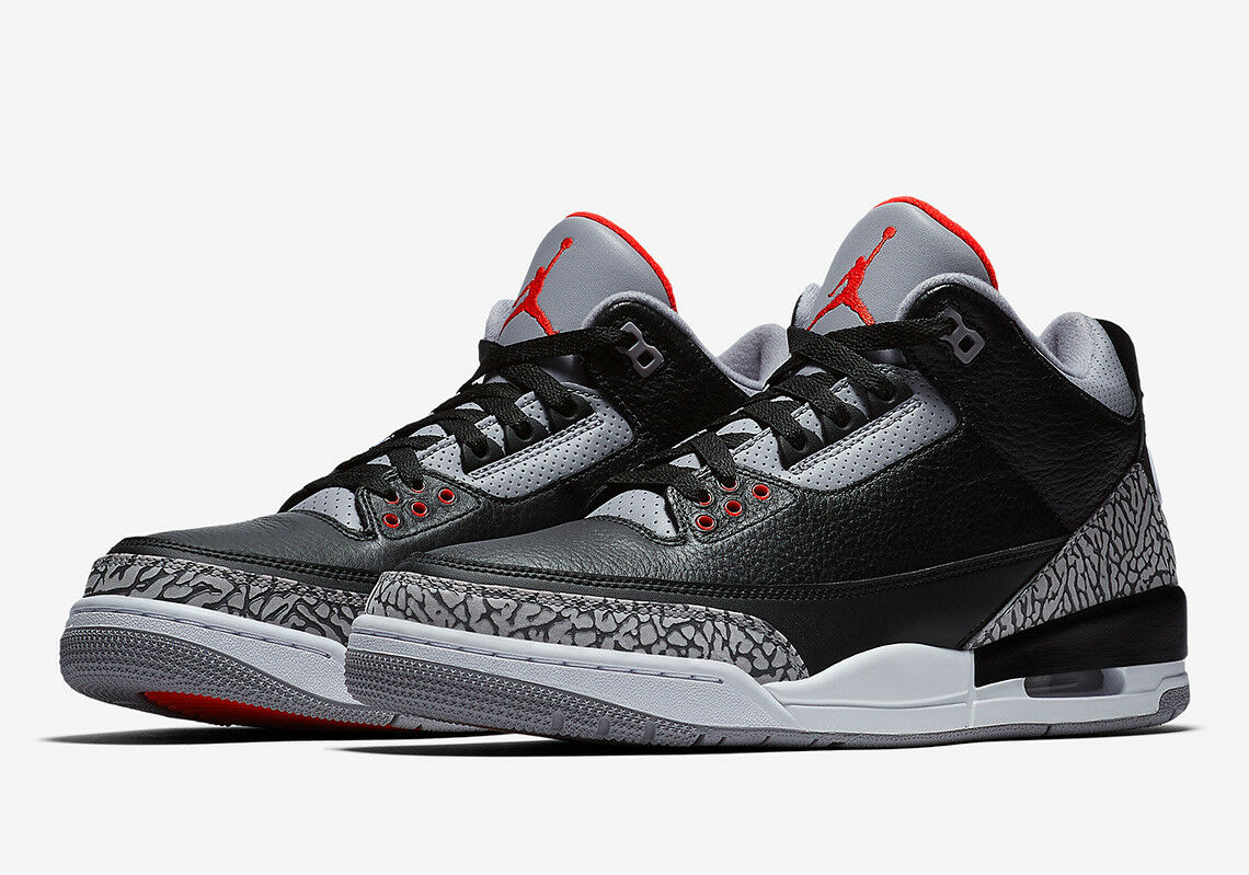 Nike AIR JORDAN 3 III RETRO OG 854262-001 BLACK CEMENT FIRE RED White SZ  11.5