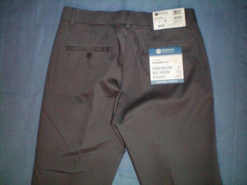 NWT NEW mens HAGGAR flat front straight fit premium no iron stretch flex pants