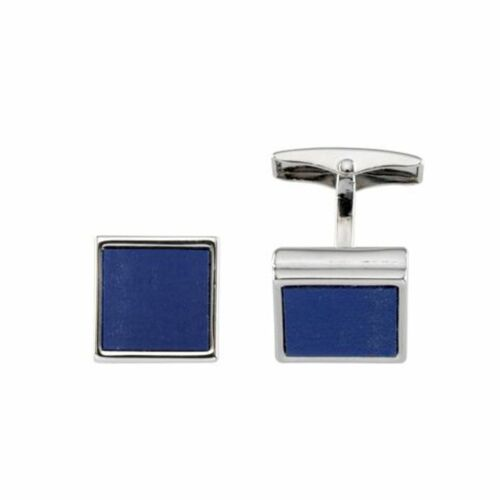 Acryl einlage blau quadratisch Ges LINDENMANN Manschettenknöpfe silberfarben