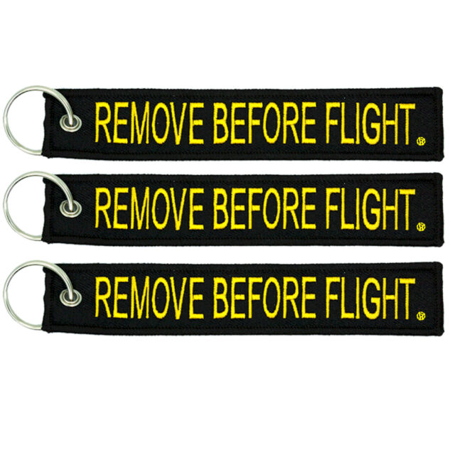 3 Pack Remove Before Flight Key Chain Black & Yellow aviation truck motorcycle
