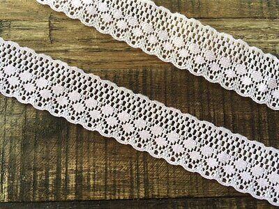 """laverslace Beautiful Baby Pale Pink Nottingham Flat Lace trim 2/""""//5cm"""