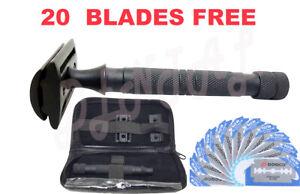 Safety-Razor-Double-Edge-Black-Razors-20-Free-Blades-Pouch-travel-kit-set
