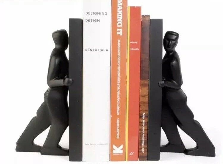 PUSHING MEN BOOKENDS DESIGNED BY CHRIS COLLICOTT FOR KIKKERLAND New In Box