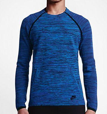 Men's Nike Tech Knit Crew Shirt 728673 439 SIZE XL Hyper Cobalt Royal Blue Black