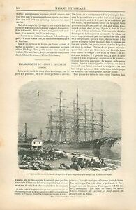 Balle-de-Coton-Dock-Port-de-Savannah-Georgia-USA-GRAVURE-ANTIQUE-OLD-PRINT-1870