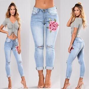 damen hohe taille hose stretch denim jeans jeanshose damenjeans zerrissen hosen ebay. Black Bedroom Furniture Sets. Home Design Ideas